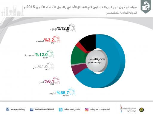 مواطنو دول المجلس العاملون في القطاع الأهلي بالدول الأعضاء الأخرى 2015م (الدولة الجاذبة للخليجيين)
